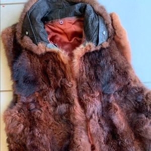 Real Fur best with neck area on leather w zipper